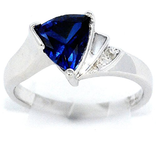 Created Blue Sapphire & Diamond Trillion Ring .925 Sterling Silver Rhodium Finish (Elizabeth Jewelry Inc Sapphire compare prices)