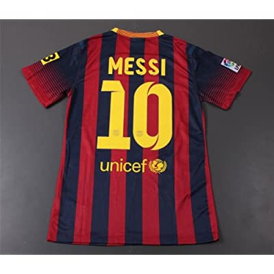 FC Barcelona 2013/2014 MESSI Home Soccer Jersey Adult Shirt & Shorts