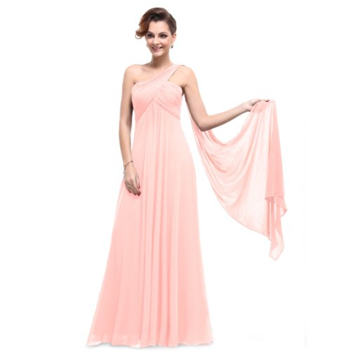 HE09816PK08, Pink, 6US, Ever Pretty One Shoulder Padded Ruffles Fashion Long Evening Dresses 09816