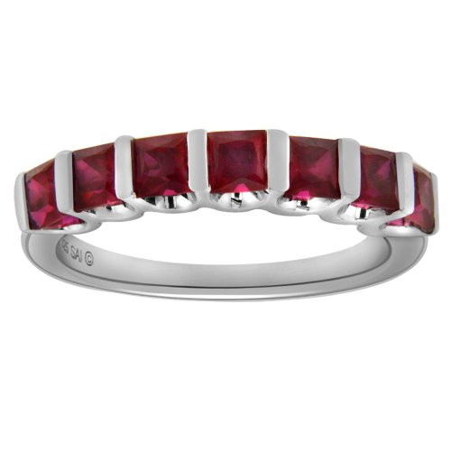 Sterling Silver Created Ruby Ring, Size 6