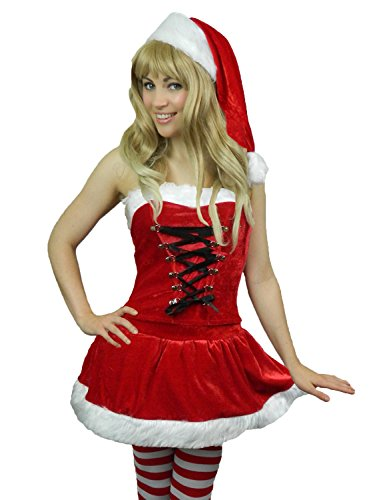 Yummy Bee Mrs Santa Costume + Stockings Cosplay Womens + Hat Plus Size 4 - 12