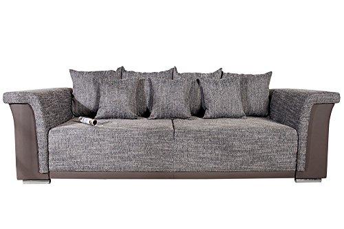 Design Big XL Sofa BELLINA hellgrau Strukturstoff charcoal Schlaffunktion Federkern thumbnail
