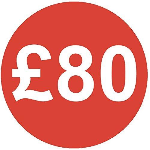 Audioprint Lot. 40Lot de £80Prix Autocollants 30mm rouge