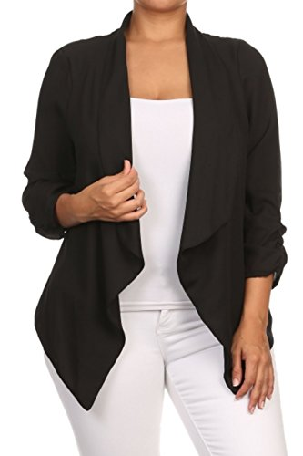 2LUV Plus Women's Draped 3/4 Sleeve Open Front Blazer Black 3XL (V911 BK-X)