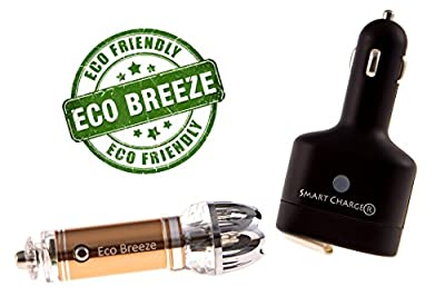 Smart Car Kit - CAR AIR Purifier, ECO Friendly AIR Freshener, Smart Charger USB Car Charger and Car Dc Splitter + CAR Purifier 8th Generation Patented Product) Removes: Cigarette Smell & Bad Orders