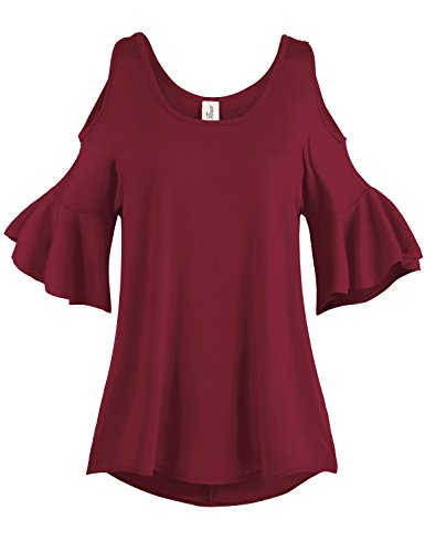 Plus Size Pleated End Cold Shoulder Tunic Tops