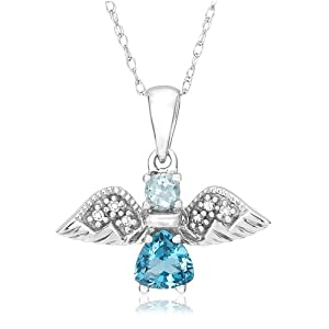 Blue Topaz Angel Pendant