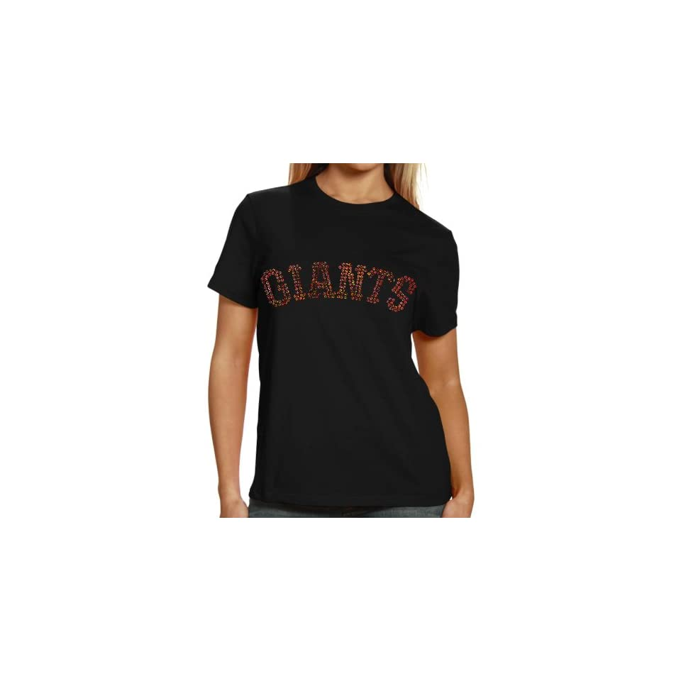 San Francisco Giants Ladies Sequin Jersey Logo Premium T Shirt   Black