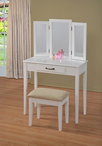 White Bedroom Vanity With Mirror front-60668