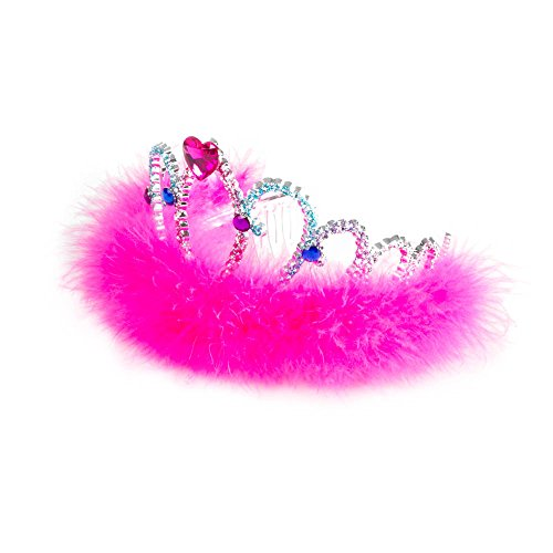 Claire's Accessories Girls Kids Multi Color Glitter Crown with Marabou Trim