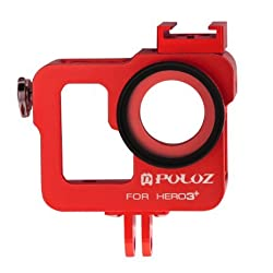 PULUZ Housing Shell CNC Aluminum Alloy Protective Cage with 37mm UV Lens Filter and Lens Cap for GoPro HERO3+ /3 (Red)