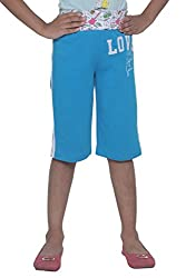 Menthol Girls Capri (7-8 Years, TURQUOISE)