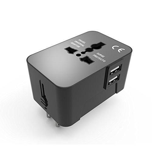 QIAYA Universal Travel Adapter With Dual 2.1A USB Ports US UK EU AU Worldwide Wall Adaptor International AC Wall Charger-Black (Change Shipping Type compare prices)