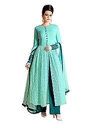 Stopnshop Fresh Designer Light Sky Blue Color Embroidered party Wear Anarkali Suit
