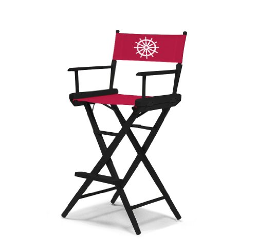 Telescope Casual World Famous Bar Height Director Chair, Black Finish With Marine Red And White Motif Cover