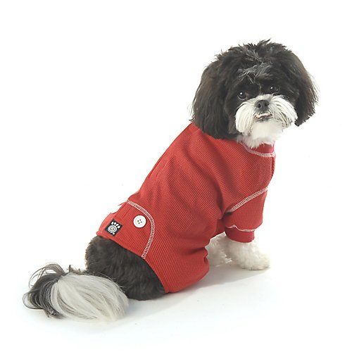 PetRageous Cozy Thermal Pajamas for Pets, X-Small, Red with White Stitching (Thermal Pet Pajamas compare prices)
