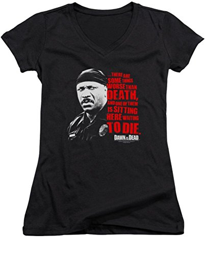 Dawn Of The Dead Worse Than Death Ladies Junior Fit V-Neck T-Shirt