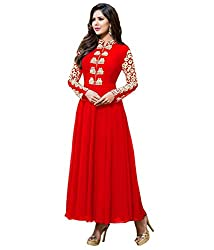 Fashion Fire Women's Red Embroidered Georgette Unstitched Dress Material