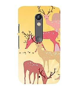 PrintVisa Girly Animal Deer Design 3D Hard Polycarbonate Designer Back Case Cover for Motorola Moto X Play