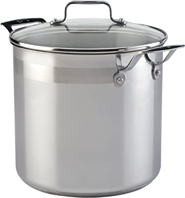 Emeril by All-Clad E88479 Chef's Stainless Steel Stockpot with Lid Cookware, 8-Quart, Silver