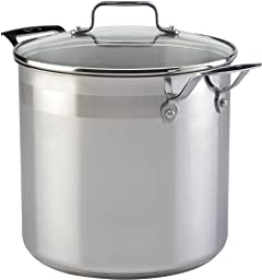 Emeril by All-Clad E88479 Chef\'s Stainless Steel Stockpot with Lid Cookware, 8-Quart, Silver