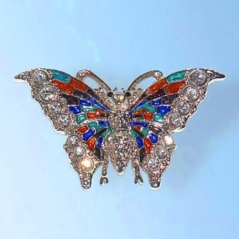 Multi Colored Butterfly Pin Colorful Brooch Swarovski Crystal Orange Green Bl...