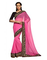 Designersareez Women Crepe Embroidered Pink Saree With Unstitched Blouse(1471)