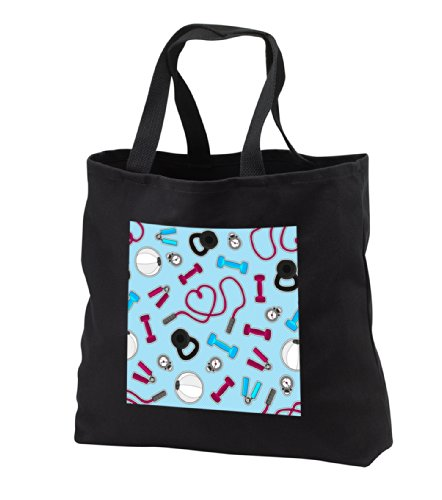 tb_185464_3 Janna Salak Designs Occupational Gifts - Fitness Love Personal Trainer Pattern Blue - Tote Bags - Black Tote Bag JUMBO 20w x 15h x 5d