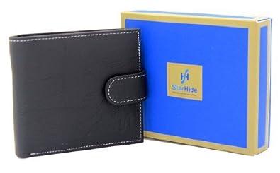 StarHide Mens Genuine Soft Italian Leather Designer Wallet Gents Passcase In Presentation Box # 5001 (Black)