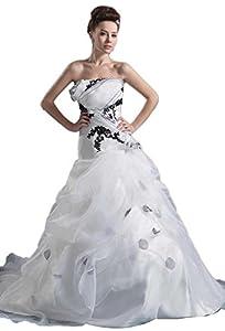 Strapless Organza Satin Sleeveless Ball Gown Pick Ups Zipper Wedding Dress(10,Ivory)