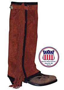 ADULTS SUEDE WESTERN HALF CHAP WITH FRINGE - 19