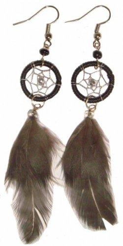 Ohrringe mit Dreamcatcher, mit Federn - Traumfänger, Farbe:türkis