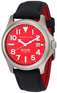 Momentum Men's 1M-SP00R12B Atlas Red Dial Black Touch Leather Watch