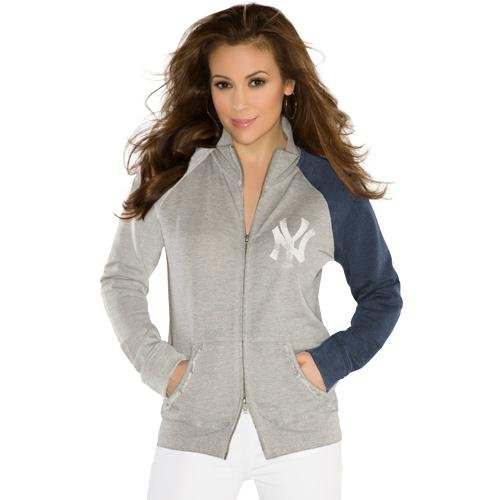 MLB Touch by Alyssa Milano New York Yankees Ladies Velocity Full Zip Track Jacket - Ash (Medium) at Amazon.com