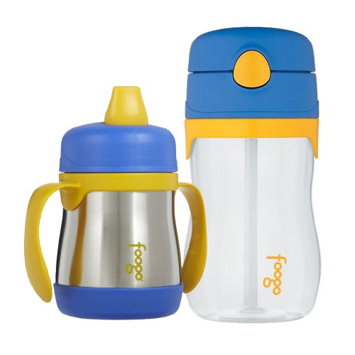 Thermos Foogo 7Oz Sippy Cup & 11Oz Straw Bottle, Twin Pack, Blue front-571611