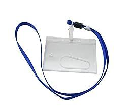 Yongshida Horizontal Card Holder Neck Strap Lanyard Color Deep Blue Clip Pack of 15