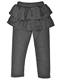 Kids\' Solid Footless Tutu Legging with Ruffled Skirt Culottes,D.Grey,4