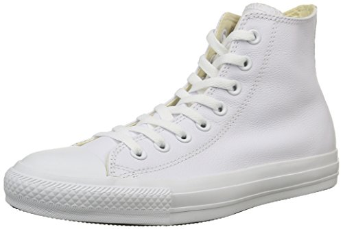 Converse, All Star Hi Leather Sneaker,Unisex Adulto, Bianco (White Monochrome), 44