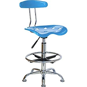 Bright blue and chrome bar stool height drafting stool - Bright colored bar stools ...