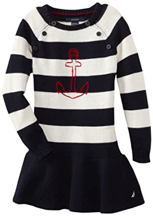 Nautica Little Girls' Long Sleeve Striped Sweater Dress, New Sport Navy, 5