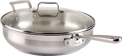 Emeril by All-Clad E88482 Chef's Stainless Steel Saute Pan with Lid Cookware, 5-Quart, Silver