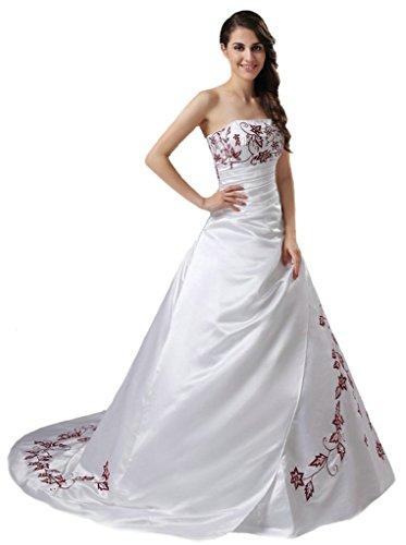 Vantexi Womens Satin Embroidery Wedding Dress Bridal Gown