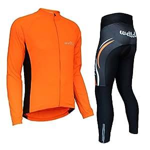 Wellcls サイクルジャージ 長袖 上下セット 自転車 サイクリング (オレンジ, S)