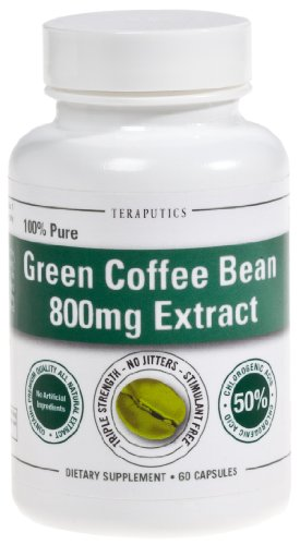 Teraputics Green Coffee Bean Extract 800 - 100% All Natural Ultra Weight Loss Pill! Triple Strength 800Mg 60Caps (Standardized To 50% Chlorogenic Acid)