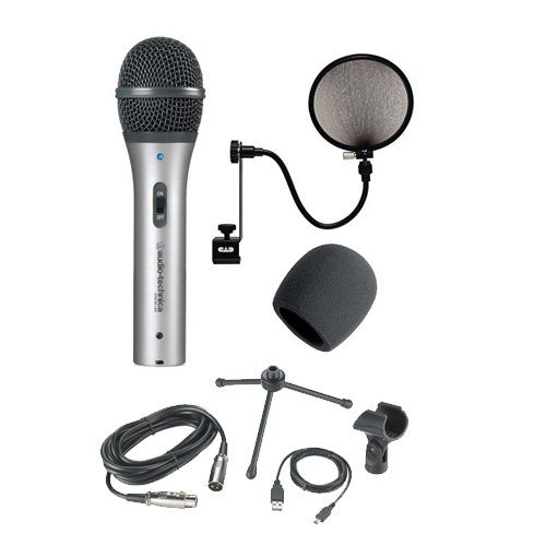Audio-Technica Atr2100-Usb Cardioid Dynamic Usb/Xlr Microphone With Cad Audio Microphone Pop Filter And Foam Ball-Type Mic Windscreen