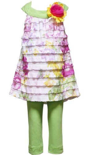 Size-3T Rre-53312E 2-Piece Lime-Green Pink Yellow Floral 'Ruffle Eyelash' Special Occasion Easter Party Dress/Legging Set,E753312 Rare Editions Girls