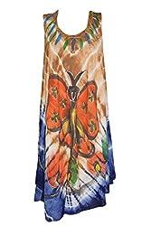 Indiatrendzs Women Dresses Rayon Printed Casual Sleeveless Dress Chest : 46