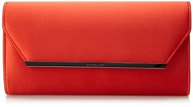 BCBG Helen Satin Clutch Evening Bag,Curry Red,One Size