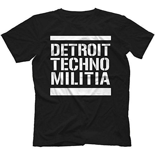 Detroit Techno Militia T-Shirt 100% Cotton Vinyl 909 Underground Resistance[Black,L]