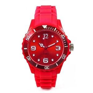 Montre Watch Color - bracelet silicone - cadran 4,3 cm - disponible en 13 coloris - couleur rouge